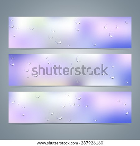 Set of horizontal colorful banners with  water drops on glass. Vector illustration - stock vector