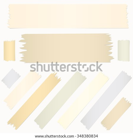 Set of horizontal diagonal and different size sticky tape, adhesive pieces on white background - stock vector