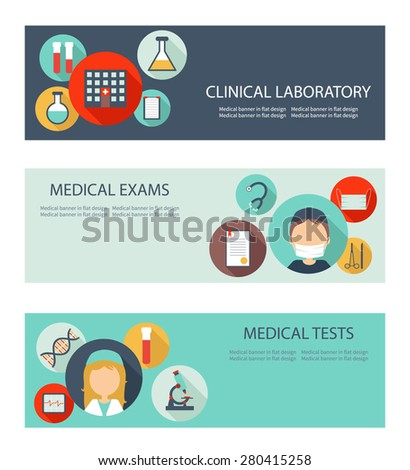 Set of horizontal medical banners with icons in flat design. Banners for medical exams, clinical laboratory and medical tests. Vector file is easy to edit and ready for use. - stock vector