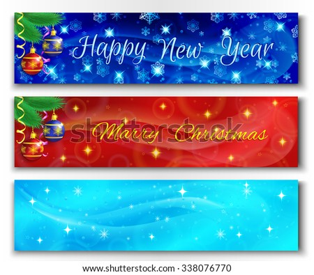 Set of horizontal Merry Christmas and Happy New Year banners with fur-tree branch, serpentine, snowflakes and stars. Vector illustration. - stock vector
