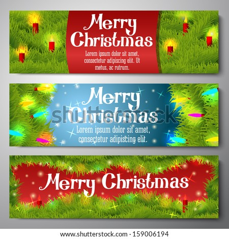 Set of horizontal Merry Christmas banners decorated by pine wreath with candles, baubles, lights. With hand written Merry Christmas greeting. Vector. - stock vector