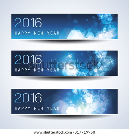 Set of Horizontal New Year Banners - 2016 Version - stock vector