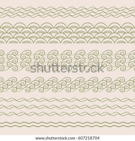 set of horizontal patterns with stylized waves
