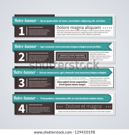 Set of 4 horizontal retro banners. Useful for web design and advertising. - stock vector