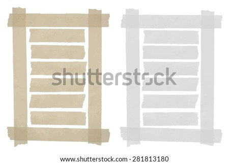 Set of horizontal sticky tape,adhesive pieces, torn paper in the frame on white background. Can write text, alphabet letters and other symbols. Vector illustration - stock vector
