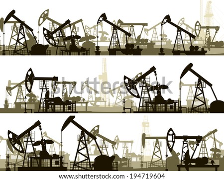 Set of horizontal vector banners with large number oil pumping units. - stock vector