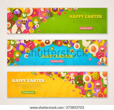 Set of Horizontal Web Banners with Easter Flat Icons in Circles. Vector illustration. Spring Holiday Symbols. Easter cake, Rabbit, Crocus, Colorful eggs, Nest. Creative Happy Easter Concept.