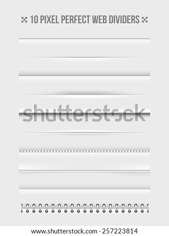 Set of horizontal web dividers design elements. Frame and bookbinder. Vector illustration - stock vector