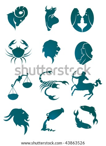 Set of horoscope symbols for design isolated on white - also as emblem or logo template. Jpeg version is also available - stock vector