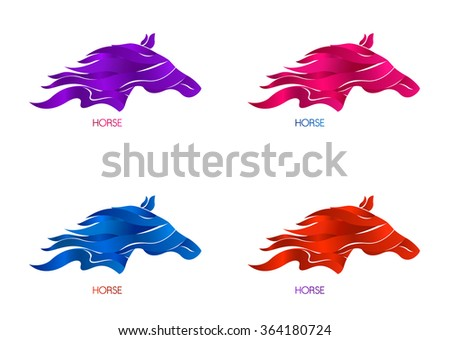 Set of horse logotype colorful templates. Horse silhouettes with ribbons. Design elements in vector. - stock vector