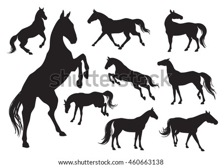 Set of horses silhouettes