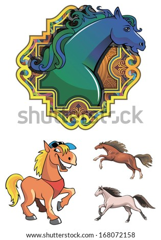 Set of horses, symbol of the coming year, vector illustration - stock vector