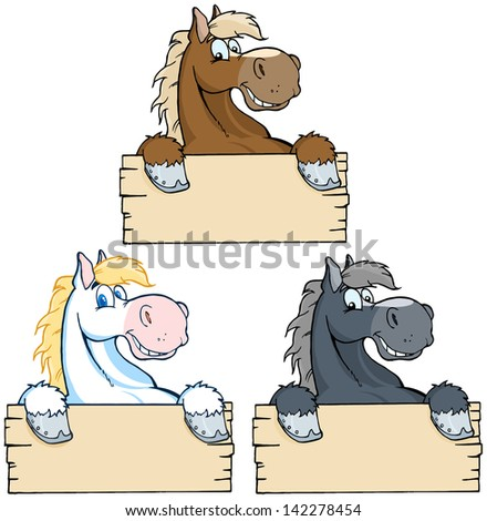 Set of Horses with Wood Sign. Vector Collection - stock vector