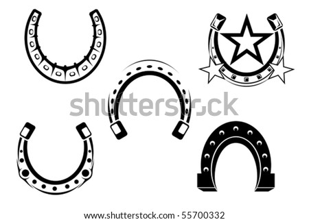 Set of horseshoes elements - also as emblem or logo template. Jpeg version also available in gallery - stock vector
