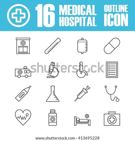 set of hospital outline icon, isolatet on white background - stock vector