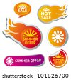 set of hot summer sale stickers - vector illustration - stock vector