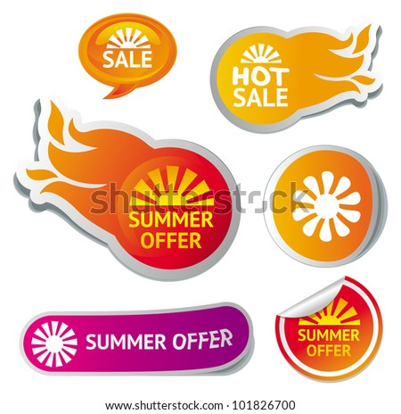 set of hot summer sale stickers - vector illustration - stock vector
