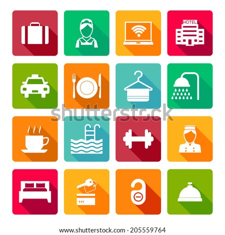 Set of hotel bed reception bath bed bell icons on colorful squares in white color vector illustration - stock vector