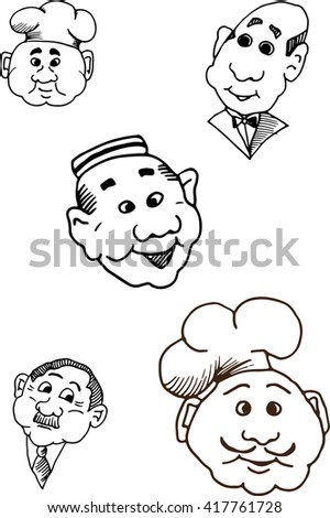 Set of Hotel sketchy funny faces. Smiles. Hotel administration. Scribble heads. Good for menu and hotel advertisement. Emoticons. - stock vector