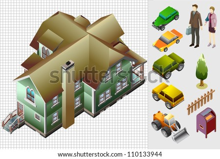 set of house and people isometric. very detail vector. make custom world - stock vector