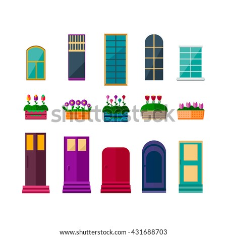 Set House Elements Flat Style Various Stock Vector 431688703 Shutterstock