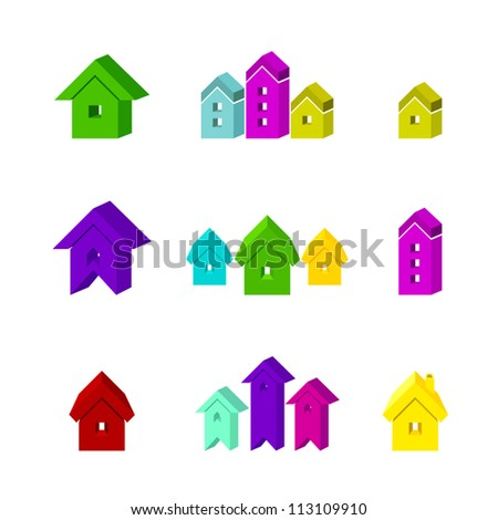 set of house icon for advertising real estate services - stock vector