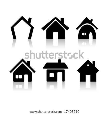 Set of 6 house icon variations - stock vector