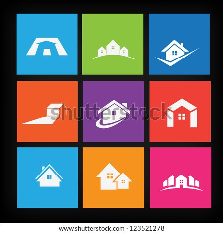 Set of house icons - stock vector