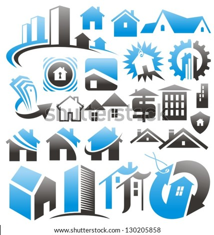 Set of house icons, symbols and signs. Vector collection of creative concepts for home services or real estate business. - stock vector