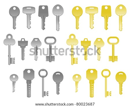 Set of house keys isolated on white. Jpeg version also available in gallery - stock vector