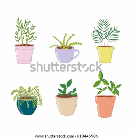 Set House Plant Isolated Colorful Sketch Stock Vector