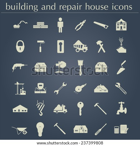 Set of house repair tools icons. Vector illustration - stock vector