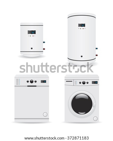 Set of household appliances  boiler and washing machine