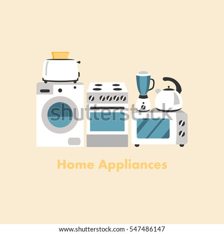 Set of household appliances design flat icons