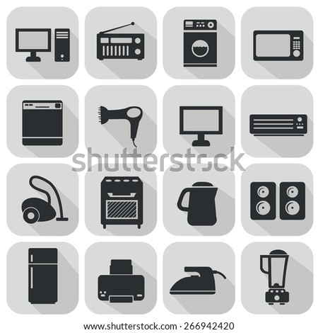Set of household appliances flat icons - stock vector