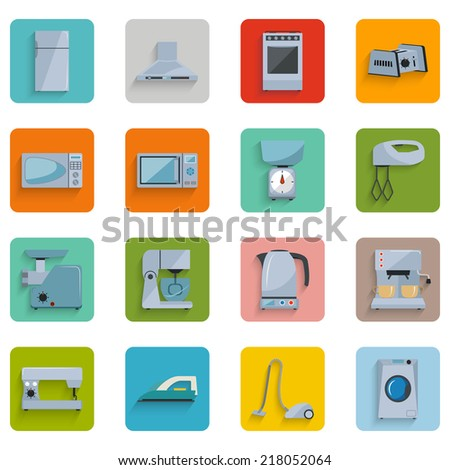 Set of household appliances flat icons on colorful round web buttons with a fridge extractor oven toaster microwave scales mixer grinder kitchen combine kettle coffee sewing machine iron vacuum washer - stock vector