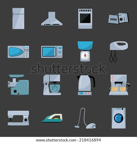 Set of household appliances flat icons with a fridge, extractor hood, oven, toaster, microwave, scales, mixer, grinder, food processor, electric kettle, coffee machine, sewing machine, iron, vacuum - stock vector