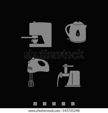 Set of household appliances icon. Flat illustration.