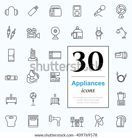 Set of household appliances icons for web or services. 30 design line icons high quality, vector illustration. - stock vector