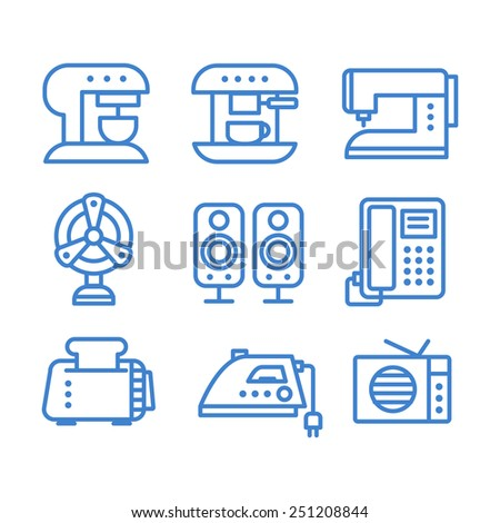 Set of household appliances icons modern lines vector - stock vector