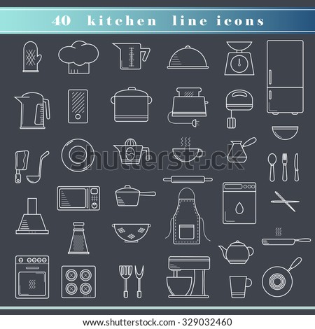 Set of household appliances, kitchen and restaurant accessories, equipment, cooking utensils, cutlery tools, kitchenware and cookware outline thin line icons for food preparation. Flat design. - stock vector