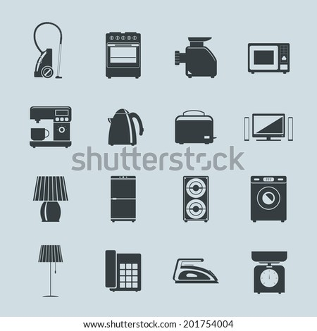 Set of household appliances silhouette icons with a vacuum cleaner  mincer  washing machine  stove  fridge  speaker  iron  microwave  lamp  scale  phone  television  kettle  coffee machine and toaster - stock vector