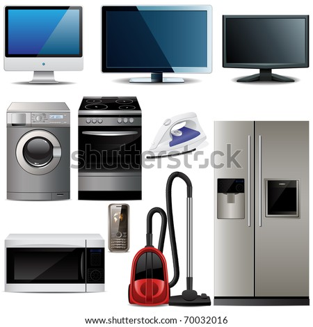 Set of household electronic elements - stock vector