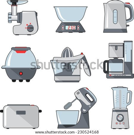 Set of household kitchen appliances - stock vector