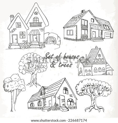 Set of houses and trees. Vector illustration - stock vector