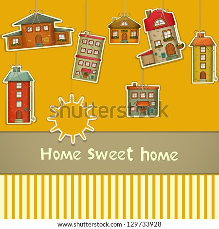Set of Houses. Cartoon Homes and Sun on Yellow Background. Hand lettering -  Sweet Home. Vector Illustration. - stock vector