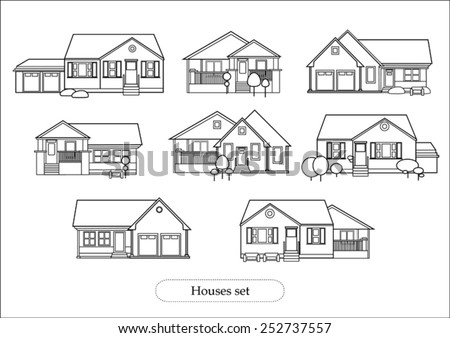 Set Of Houses Drawings