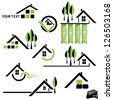 Set of houses icons for real estate business on white background. With natural elements - stock photo