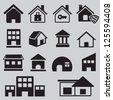 Set of houses icons - vector icons - stock vector