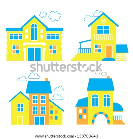 Set of houses. Real estate. Vector illustration - stock vector